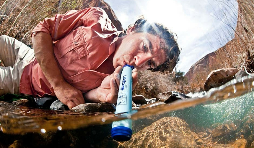 life straw, water purification tablets, backpacking africa for beginners
