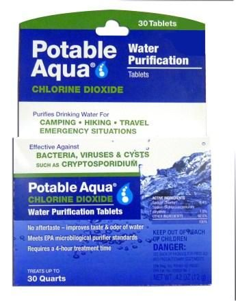 Water Purification Tablets, Potable Aqua, backpacking gear